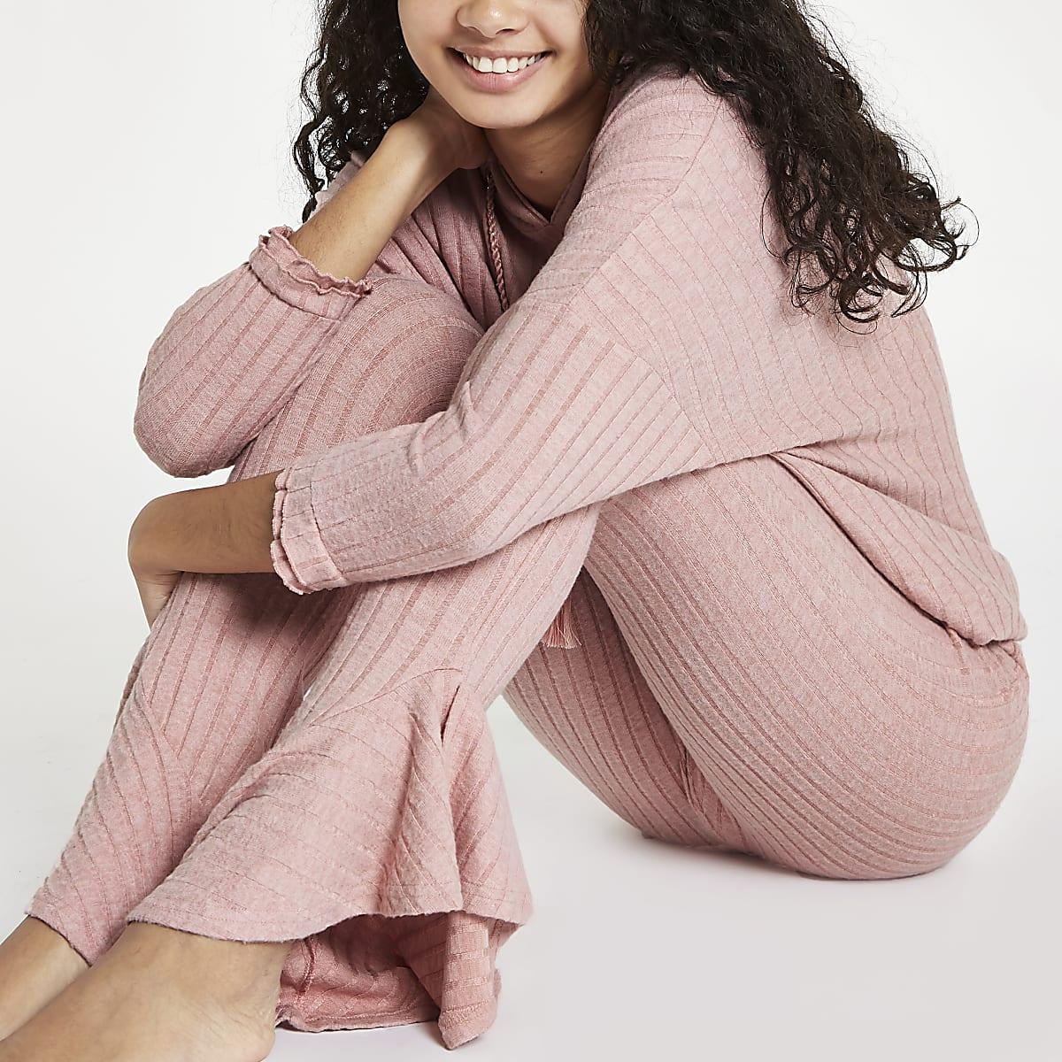 Pink rib loungewear pants