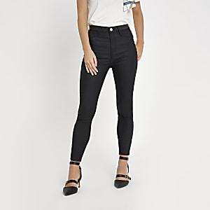 Petite – Harper – Jean noir taille haute enduit