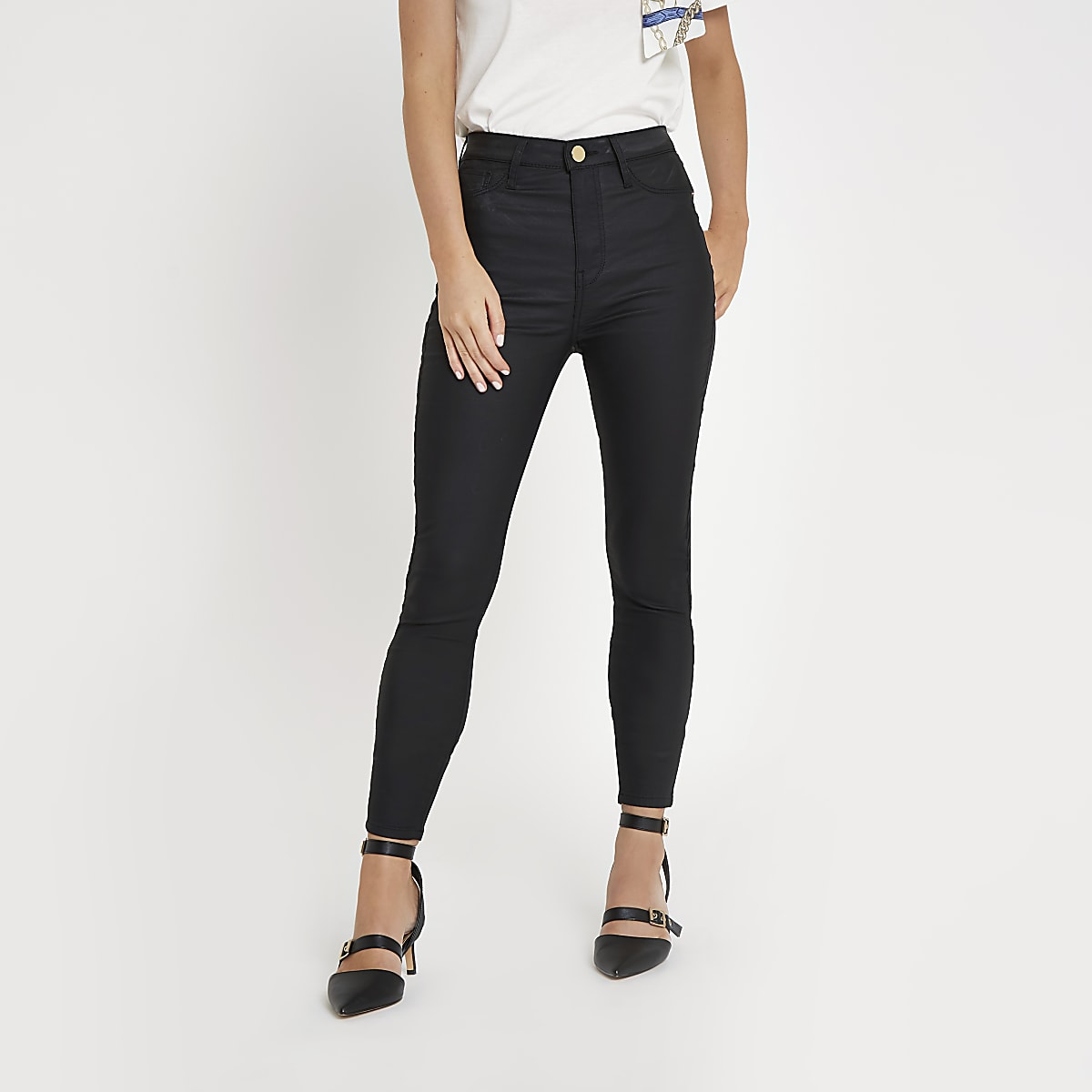 RI Petite - Harper - Zwarte jeans met hoge taille en coating