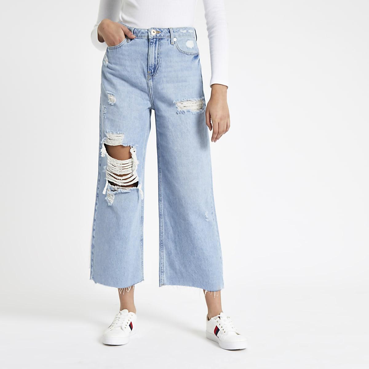 Alexa - Blauwe cropped ripped jeans met wijde pijpen