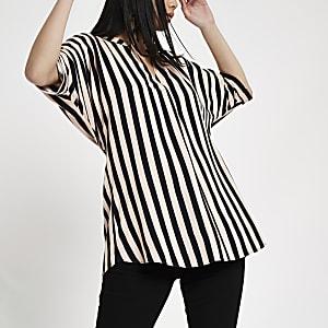 Pink stripe twist back top