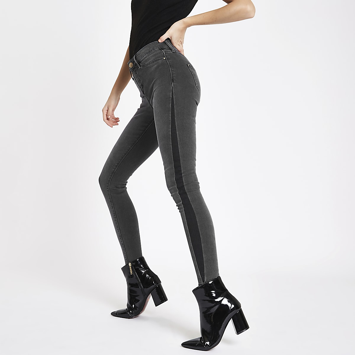 Black Molly  shadow panel mid rise jeggings