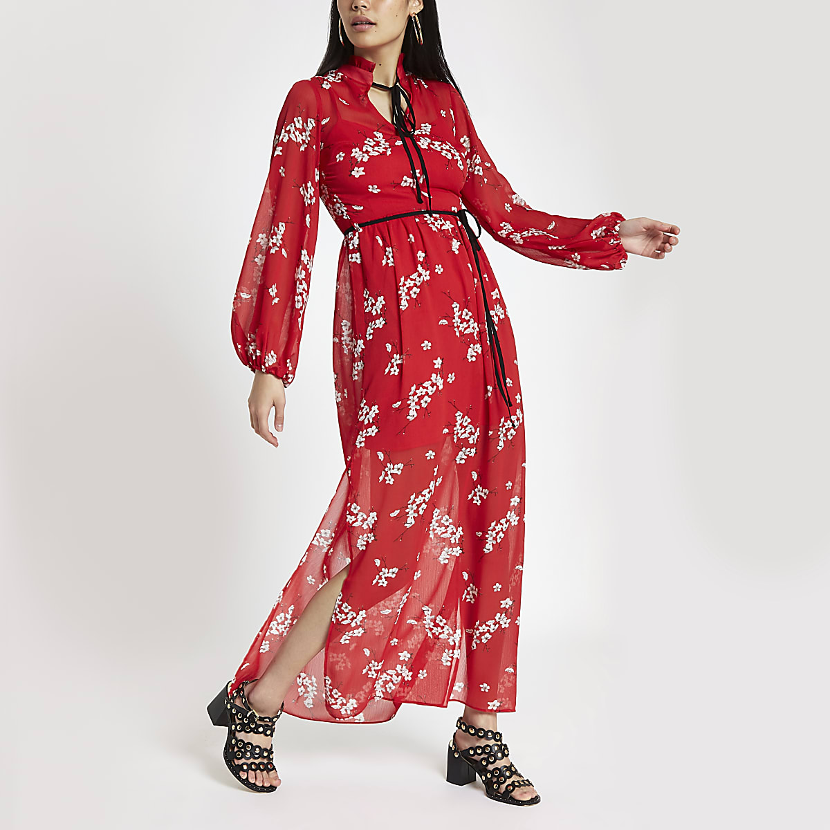 d179ae61c8a Red floral tie neck maxi dress - Maxi Dresses - Dresses - women