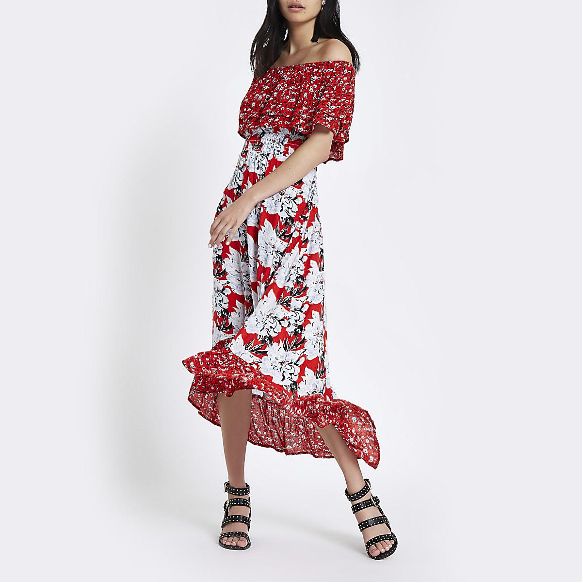 1b57c5b4186 Robe longue Bardot asymétrique à fleurs rouge - Robes longues ...