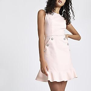 Light pink diamante button bodycon dress