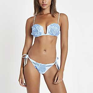 Light blue floral tie side bikini bottom