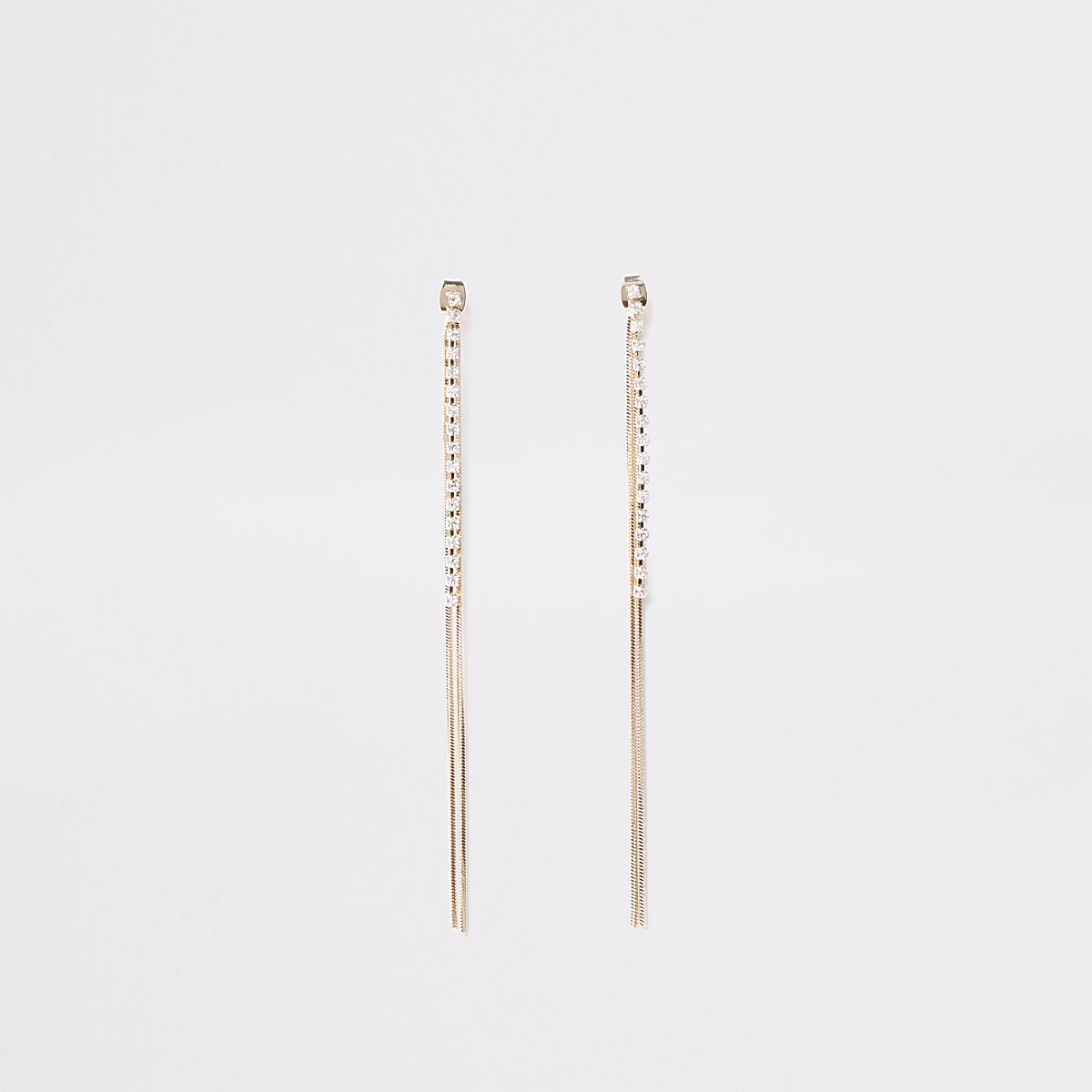 Gold color slinky front and back earrings