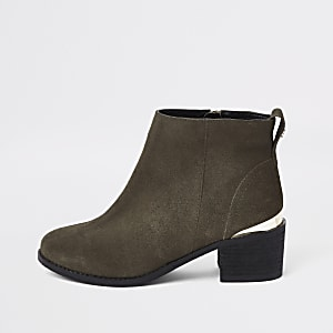 Khaki green faux suede ankle boots