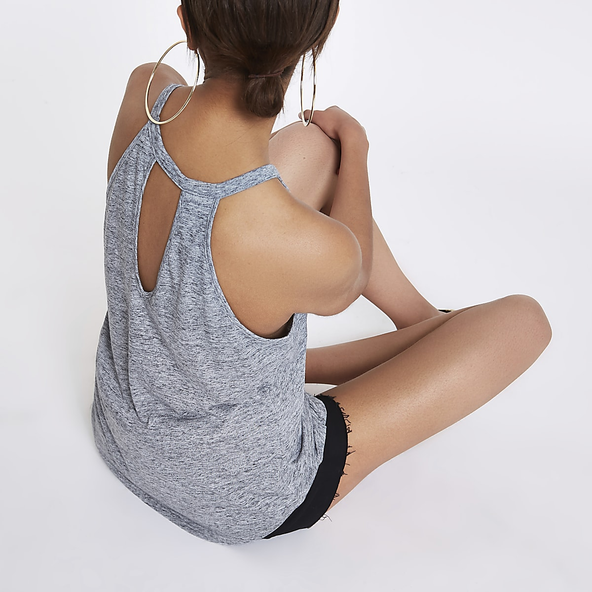 Grey marl longline tank top