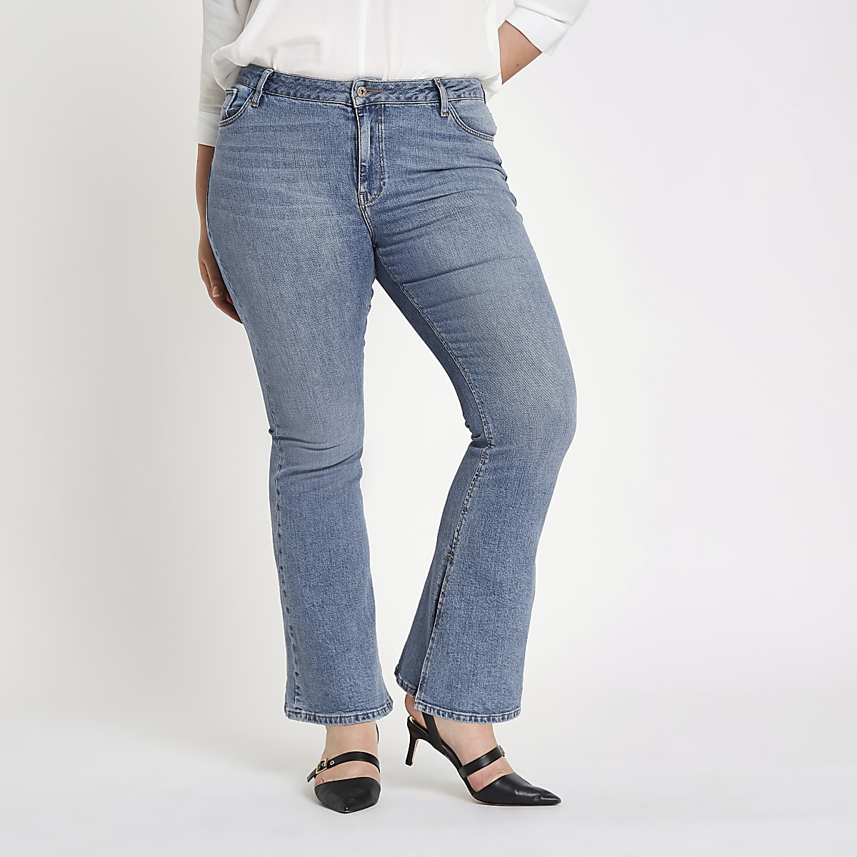 Plus blue wash high rise flared jeans