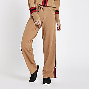 Petite – Pantalon de jogging en maille beige à bandes latérales