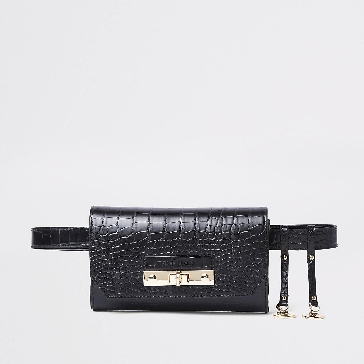 Black croc lock front belted bum bag