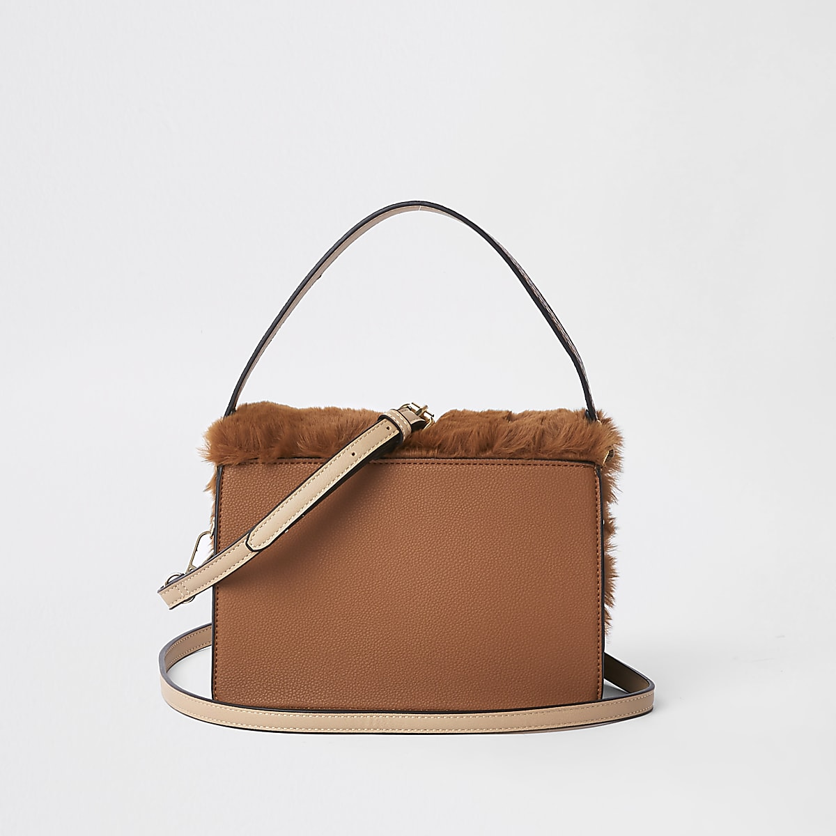 687f587ff Brown faux fur flap cross body bag - Cross Body Bags - Bags & Purses ...
