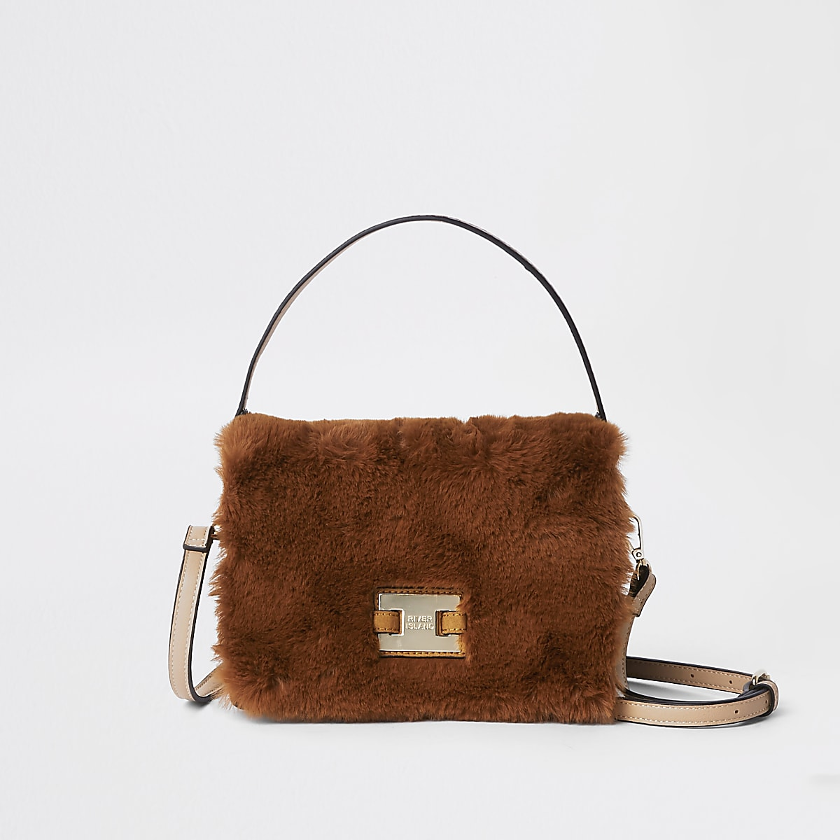 Brown faux fur flap cross body bag