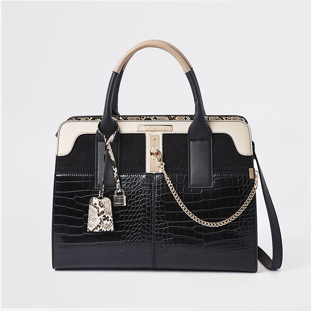 Black croc detail lock front tote bag