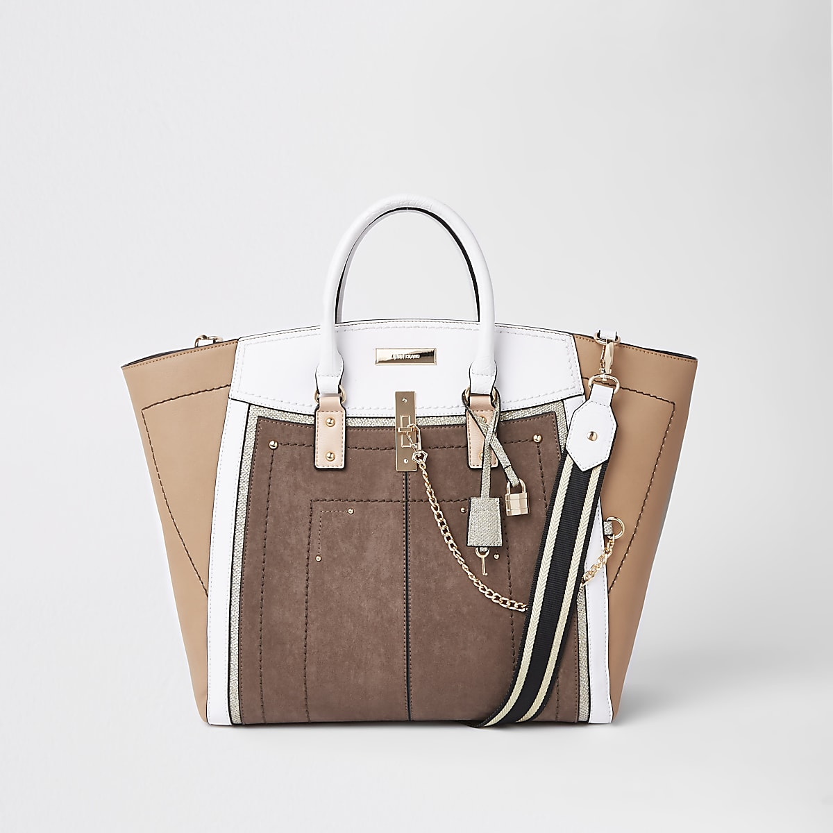 Tote Bag in Beige-Metallic