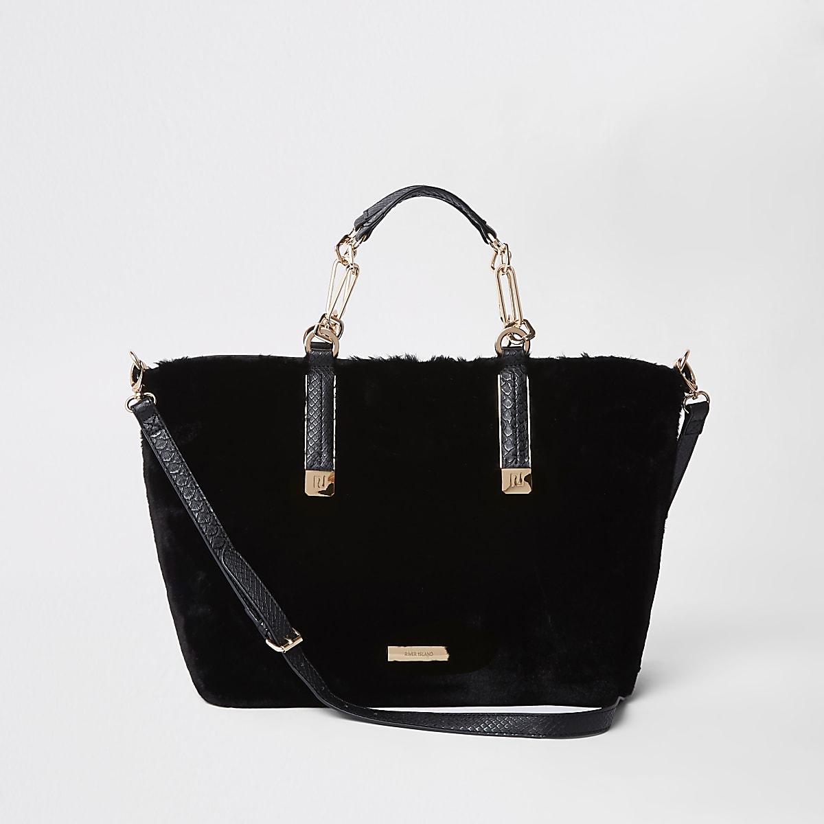 Black faux fur winged tote bag