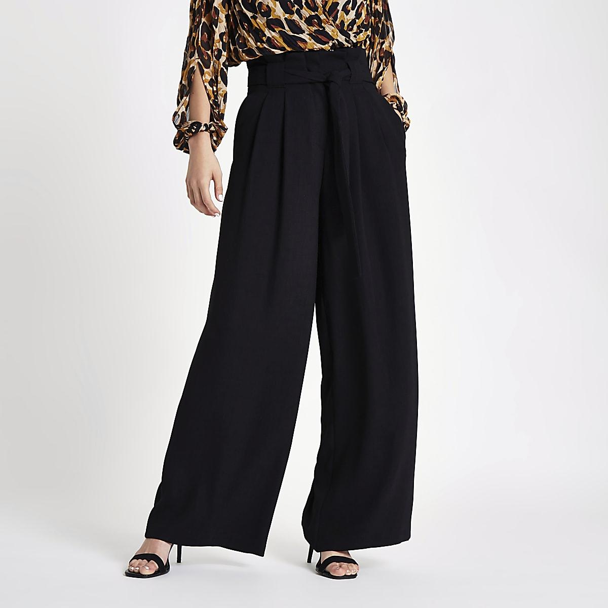 Black tie waist wide leg trousers