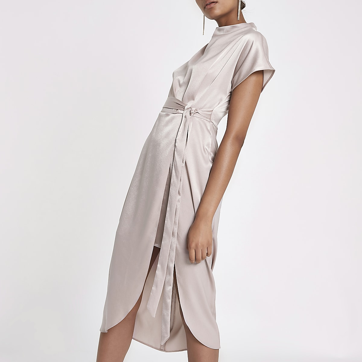 Beige pink satin tie waist dress