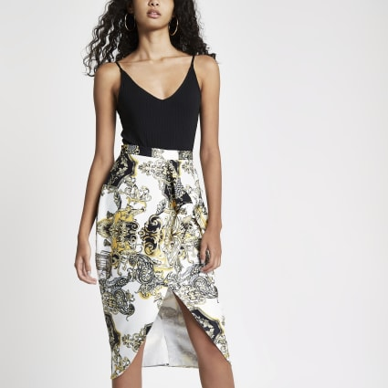 White print tie front pencil skirt