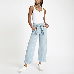 Grüner Jeans-Hosenrock mit Gürtel