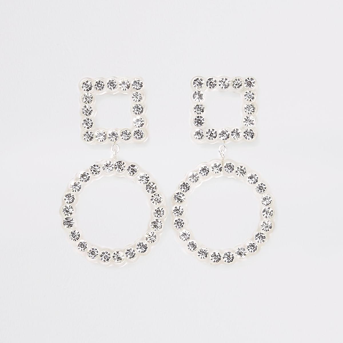 Clear diamante embellished stud drop earrings