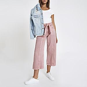Pink belted denim culottes