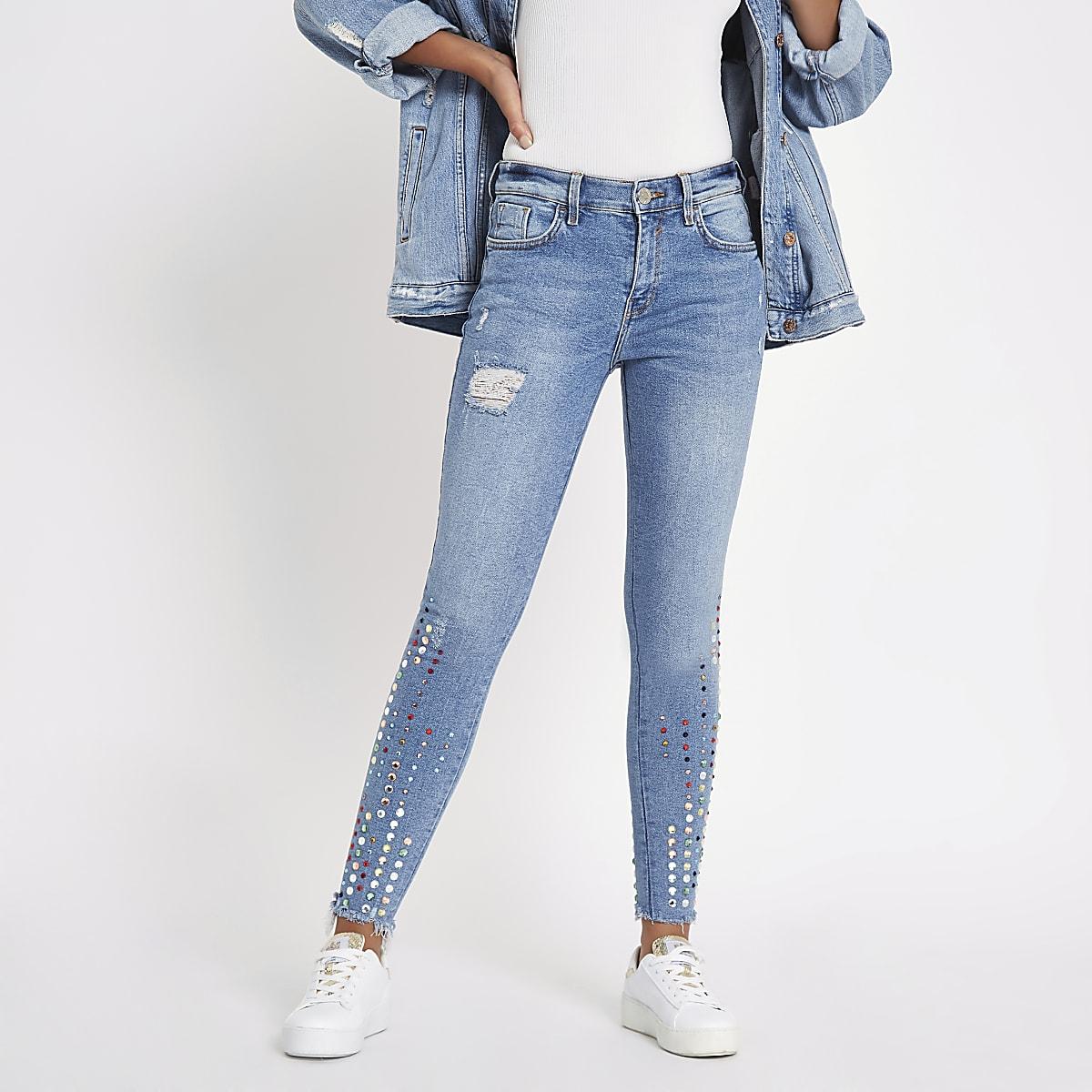 Blue Amelie gemstone mid rise skinny jeans