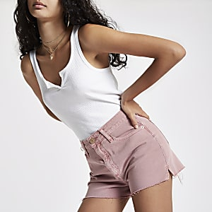 Annie - Roze denim hot pants met hoge taile