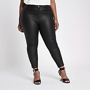 Plus – Molly – Jean skinny noir enduit