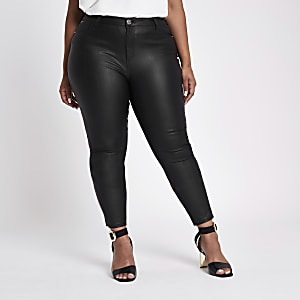 RI Plus - Zwarte Molly jeggings met coating en halfhoge taille