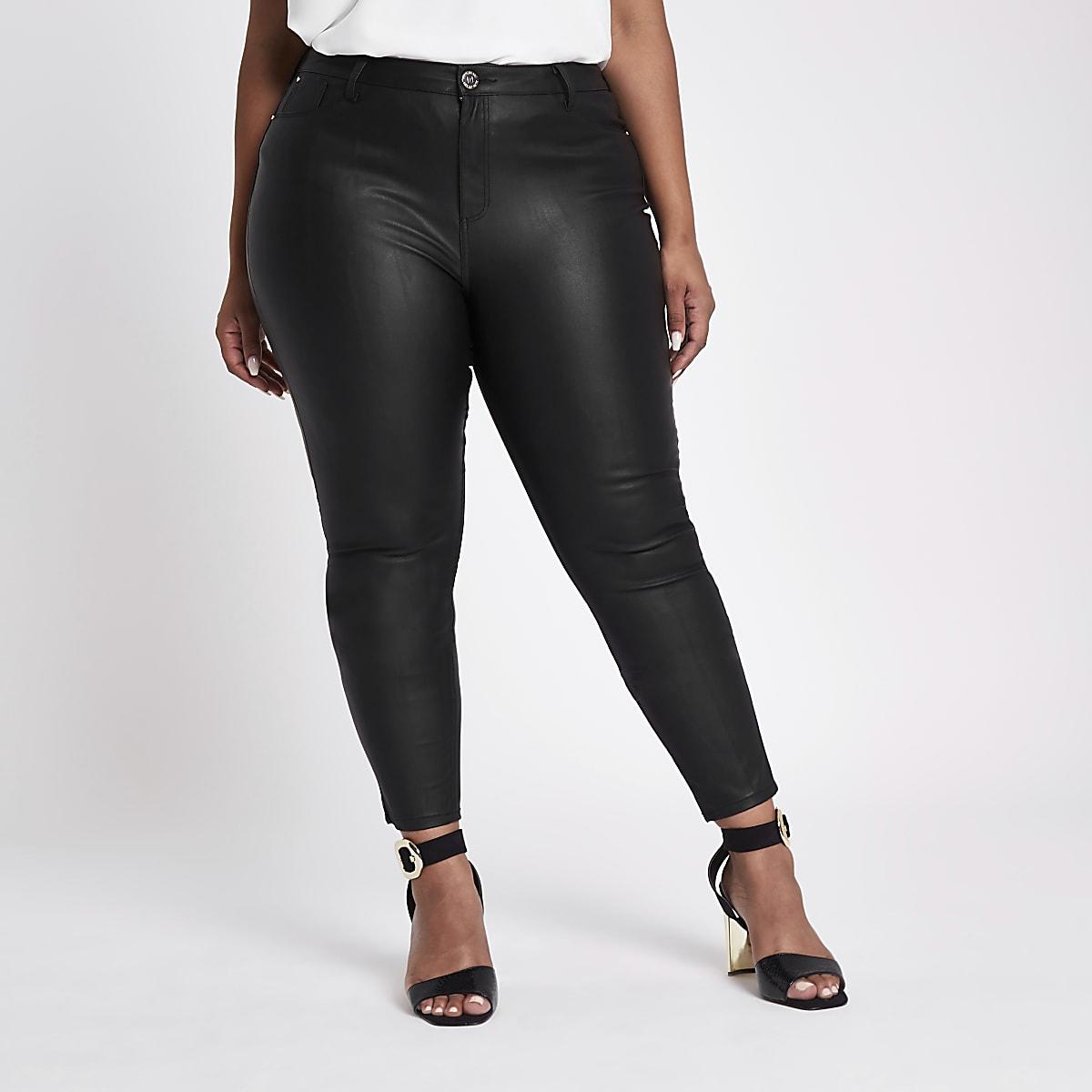 RI Plus - Molly - Zwarte skinny jeans met coating