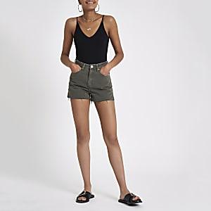 Annie – Mini-short en denim kaki taille haute