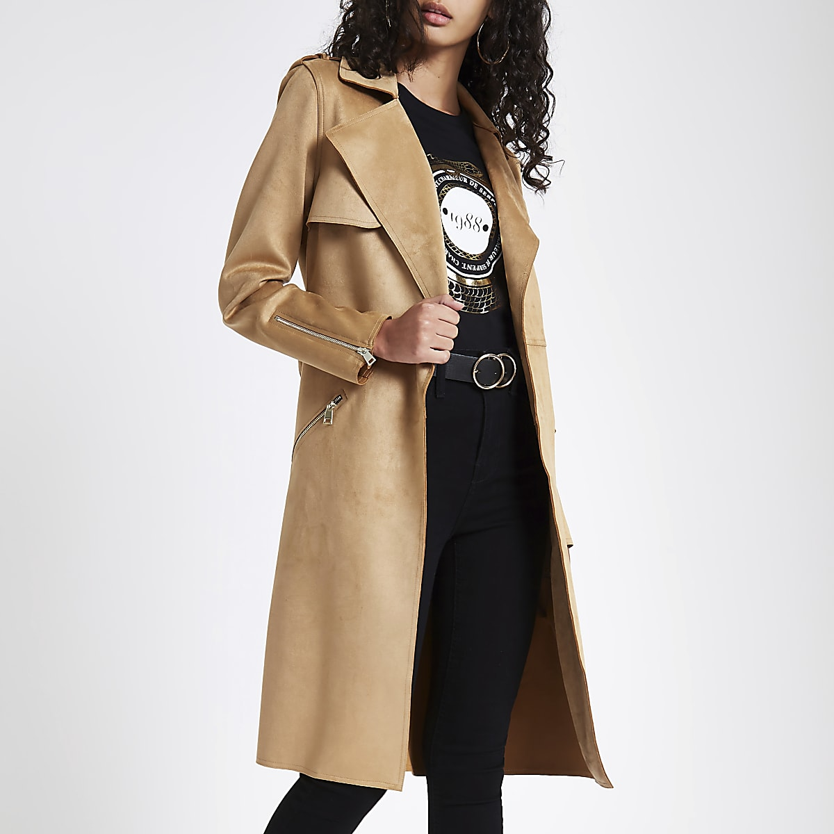 latest design stylish design enjoy bottom price Brown faux suede trench coat