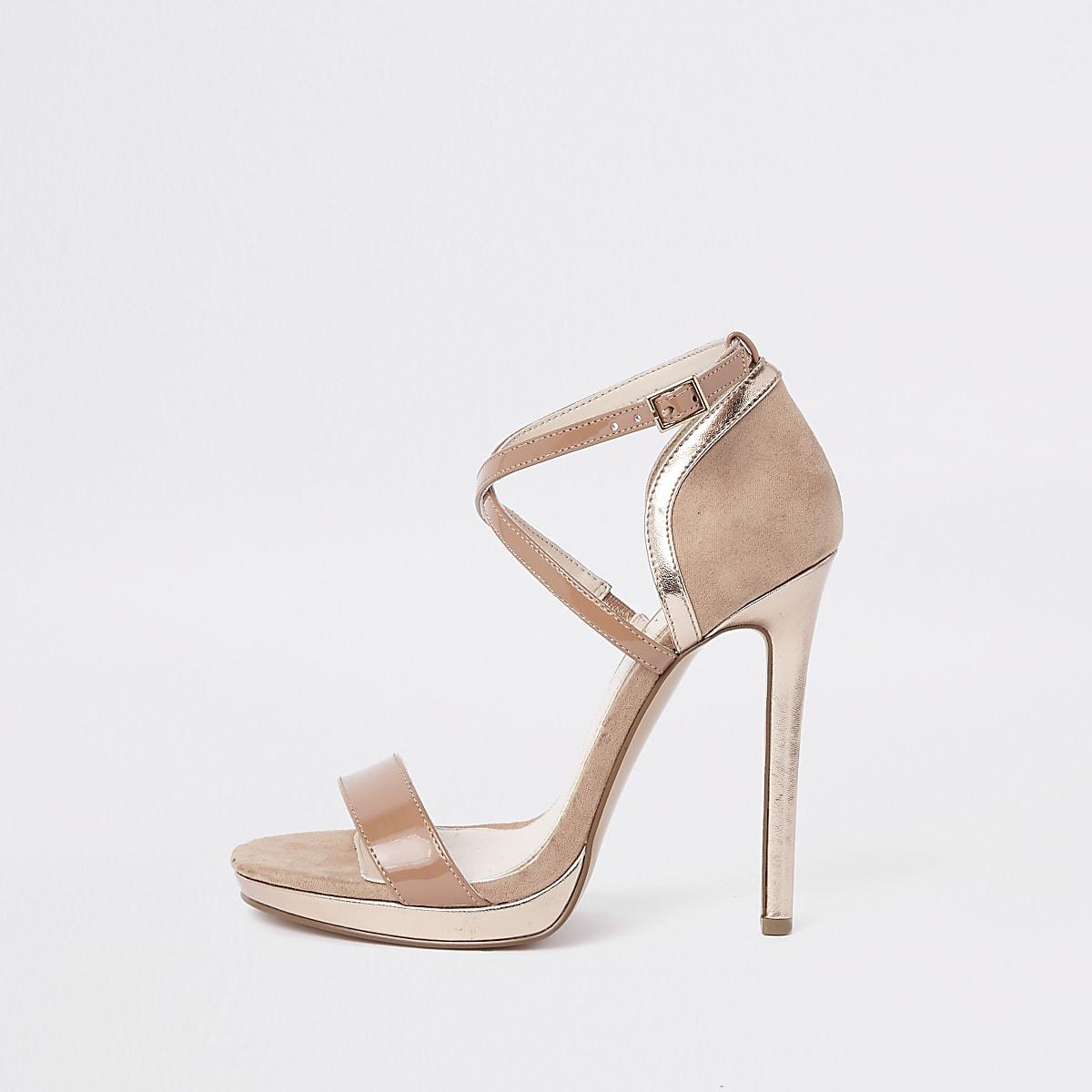 Sandales minimalistes beiges à plateforme