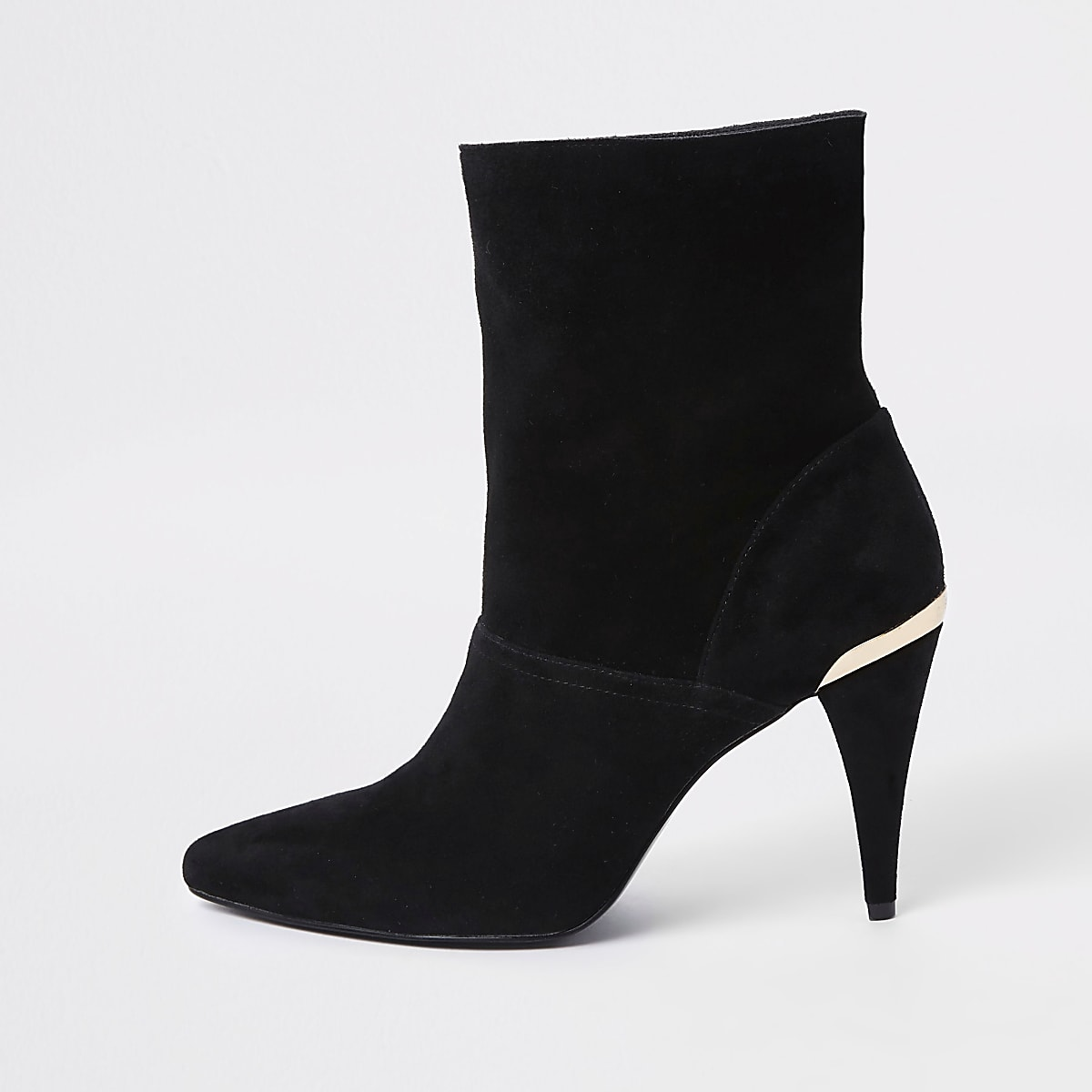5ee1bc767a4 Black suede slouch cone heel boots Black suede slouch cone heel boots ...