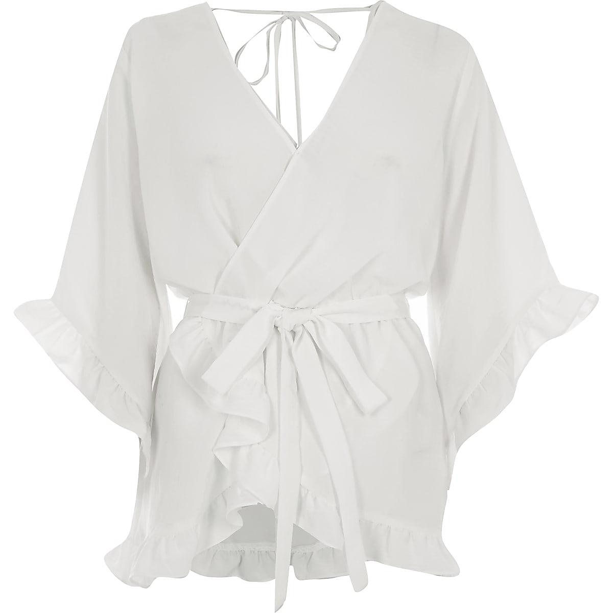 47cdb290f099b3 Cream wrap tie waist frill blouse - Blouses - Tops - women