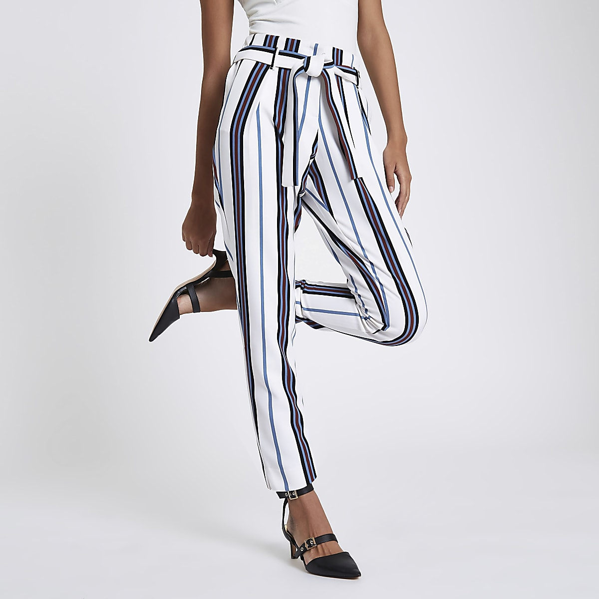 White stripe tie waist tapered pants
