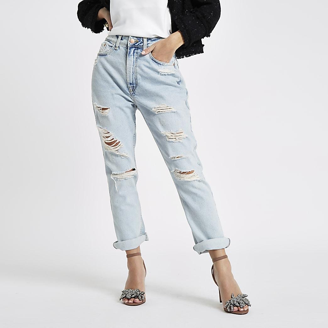 Petite light blue boyfriend fit ripped jeans