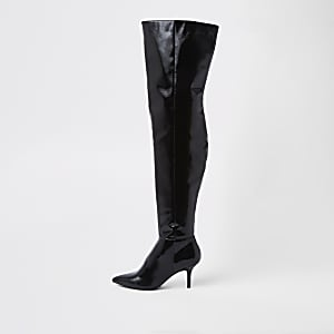 Black slouch over the knee boots