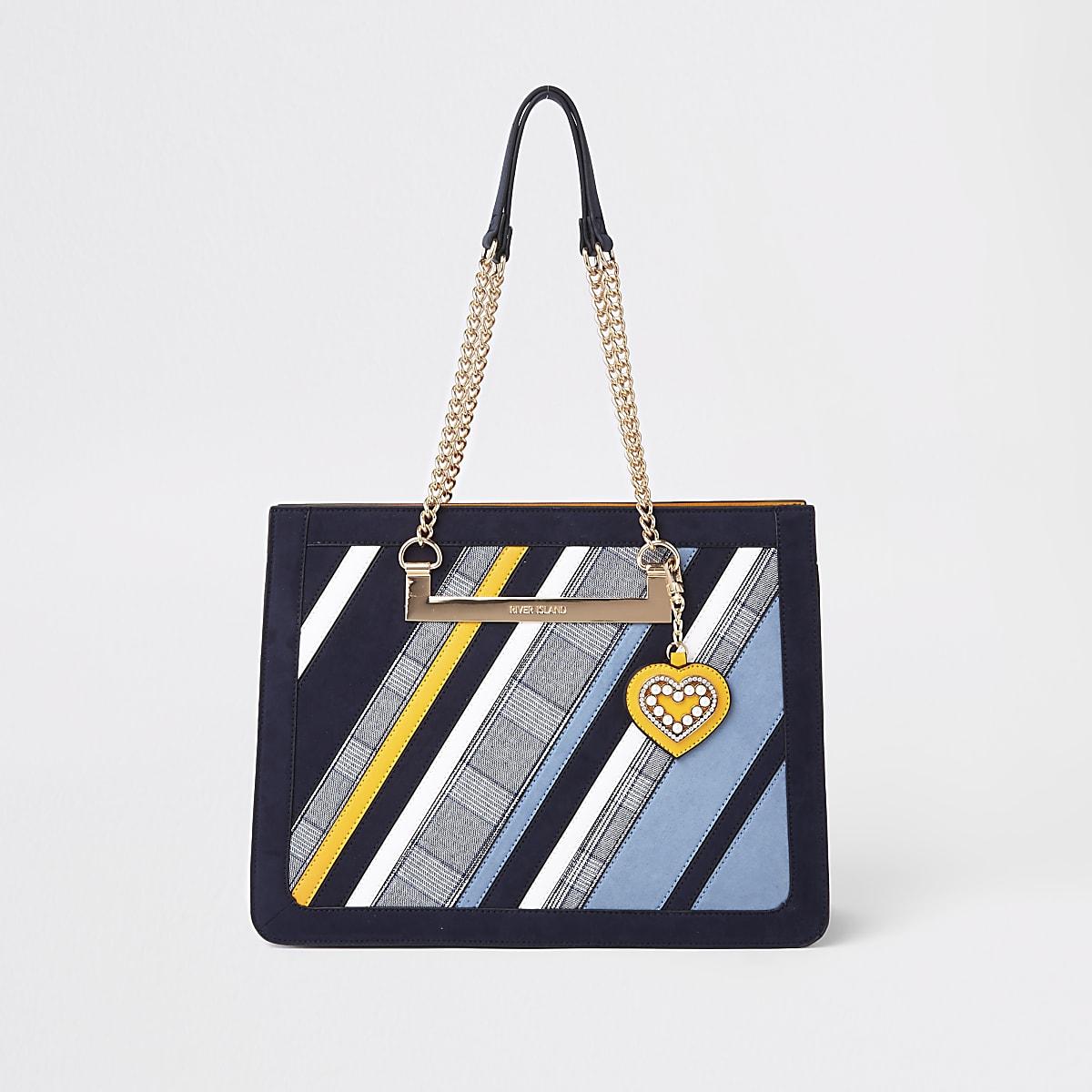 Blue check stripe chain handle tote bag