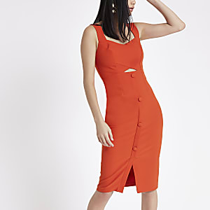 Orange button front midi bodycon dress