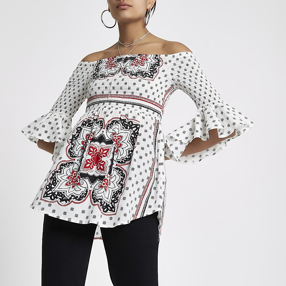 be85be2b8b White paisley print bell sleeve top - Bardot   Cold Shoulder Tops - Tops -  women