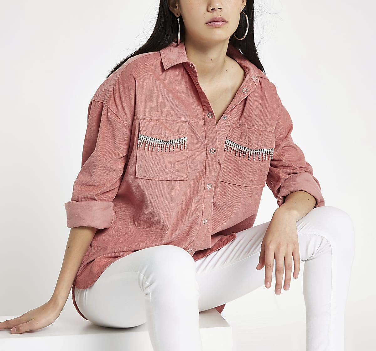Pink corduroy rhinestone embellished shirt