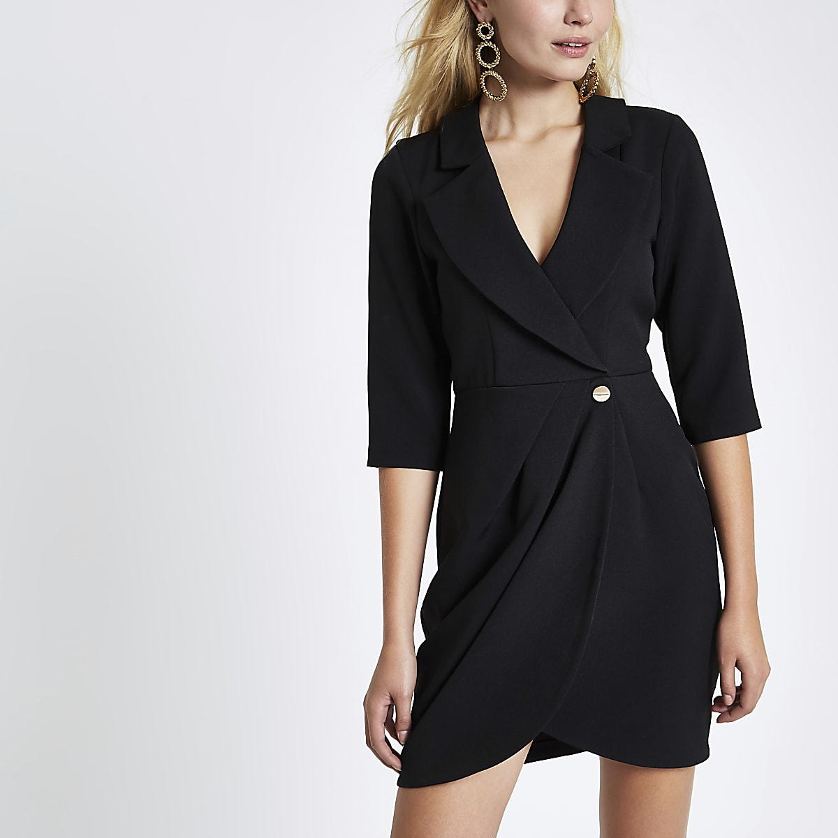 Black bodycon wrap tux mini dress