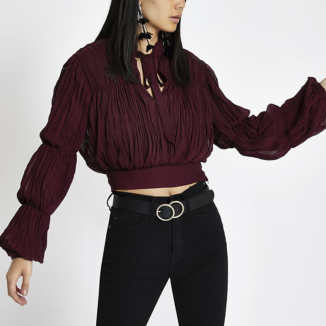 Dark red pleated puff sleeve crop top
