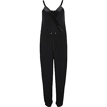 Petite navy velvet V neck tape side jumpsuit