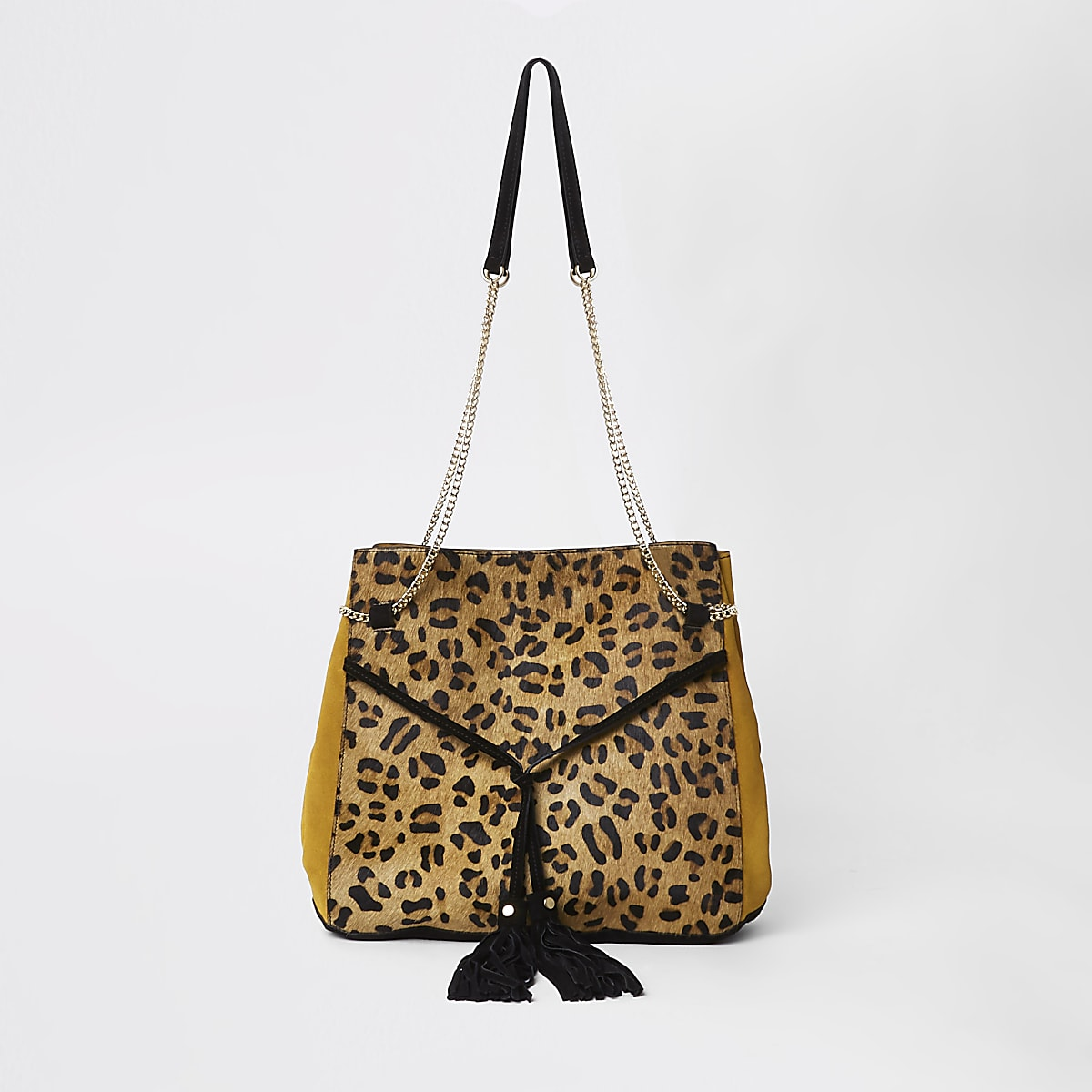 Schwarze Kordelzugtasche mit Leopardenmuster