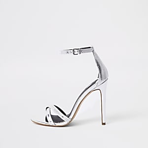 Silver metallic barely there sandals