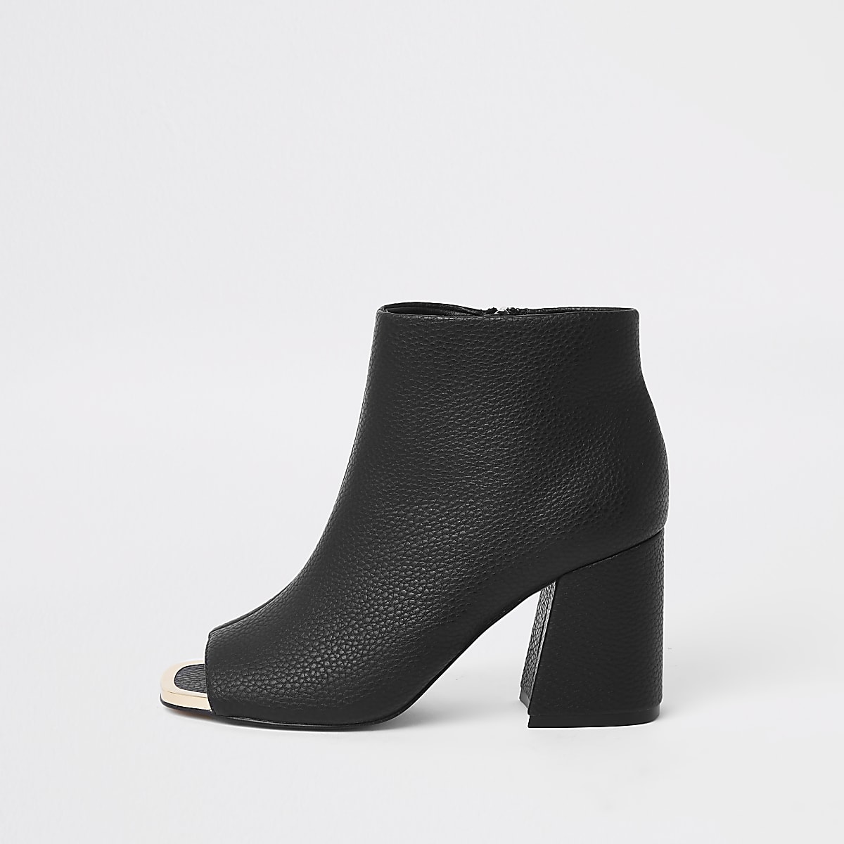 Schwarze Shoe Boots aus Lederimitat